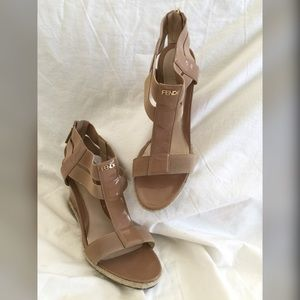 Auth FENDI Beige/Nude Patent Leather Wedge Sandals